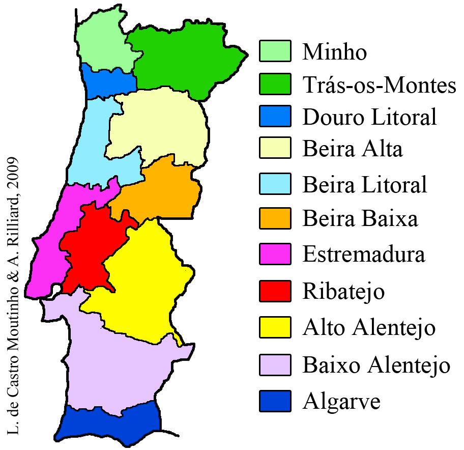 mapa das regioes de portugal continental Continente – Variação Linguística mapa das regioes de portugal continental